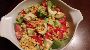 Salad before adding in roasted chickpeas and black beans